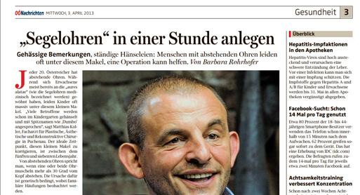 """Bericht in den OÖN vom 03. April 2013 - """"Segelohren"""" in einer Stunde anlegen."""