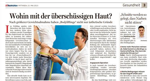 Bodylift nach gewichtsabnahme in Linz, Artikel aus den OÖ Nachrichten - Dr. Koller, Schönheitschirurg