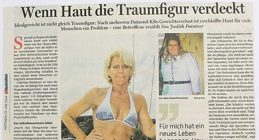Pressebericht OÖN Dr. Koller – Zentraler Bodylift in Linz wenn die Haut die Traumfigur verdeckt. OÖNachrichten Artikel, Gesund von Dr. Koller