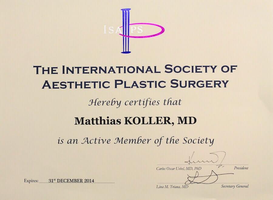 Aufnahme in die ISAPS vom Plastischen Chirurgen in Linz Dr. med. Matthias Koller
